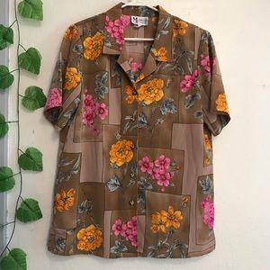 Vintage Button Down Brown Floral Blouse